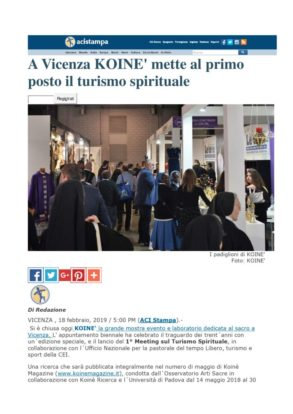 thumbnail of AciStampa on line parla del Koine Vicenza 2019